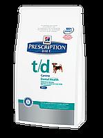 Корм для собак Hills PD Canine T/D mini 3 кг хиллс для устранения зубного налета, пятен и камней на зубах