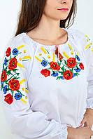 Качественная женская сорочка вышиванка украшена ярким цветочным орнаментом
