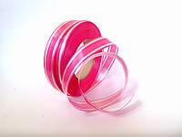 Лента для упаковки подарков (пластиковая) розовая с полосой (23)