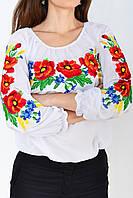 Роскошная женская сорочка вышиванка украшена вышитыми  красными маками