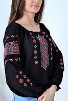 Роскошная молодежная вышиванка в черном цвете украшена этническим орнаментом