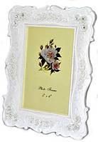 Фоторамка белая ажурная большая с цветочками и стразами 31х25 см
