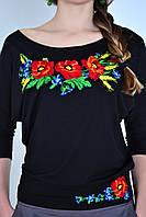 Нарядная женская вышиванка свободного кроя с красивым вышитым цветочным принтом
