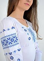 Традиционная женская футболка вышиванка с длинным рукавом украшена синим орнаментом