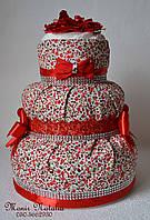 """Торт из памперсов девочке с платьем """"Подарок на крестины"""" 60 штук"""
