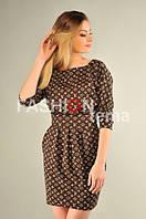 Платье женское из трикотажа коричневого цвета