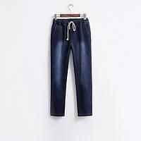 Утепленные джинсы на завязках, синие и черные