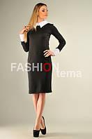 Платье женское с белым воротничком черное