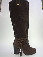 Замшевые женские коричневые евро зимние модные стильные сапоги 36р Foletti