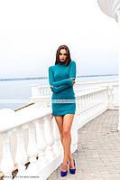 Тёплое платье гольф бирюзового цвета