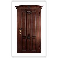 Двери входные МДФ 16 ПВХ Vinorit Nussbaum с нанесением патины  Steelguard™ модель Косичка