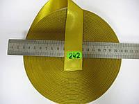 Лента атласная двухсторонняя 30мм, цвет золотисто-желтый, Турция