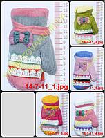 Варежки детские вязаные двойные для девочек - разные цвета - 14-7-11