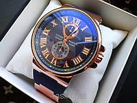 Кварцевые мужские наручные часы Ulysse Nardin Marine Gold Blue Синие копия