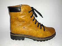 Кожаные женские коричневые зимние стильные удобные ботинки на низком ходу