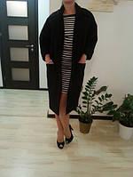 Кашемировое чёрное пальто на осень