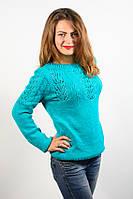 Джемпер пуловер кофта кофточка вязаная бирюзовая размер 48-50 красивая AL1