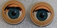 Глазки полусферы, голубые, 20 мм. акриловые,  моргающие.