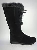 Замшевые женские зимние удобные стильные сапоги на плоской подошве 40р