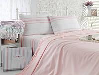 Однотонное постельное белье с простыней пике 200х220 Irya Weekend Pudra