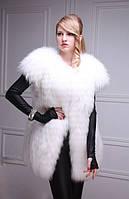Меховой жилет жилетка из белой полярной лисы  White fox fur vest, length=77 cm