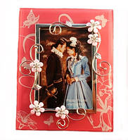 Фоторамка стеклянная с цветами, бабочкой и стразами 23х17 см