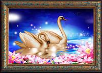 Набор алмазной вышивки 5D на холсте Лебединая верность