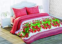 310977 Постельное белье Солодкий сон, размер двуспальный евро, дизайн Красные тюльпаны