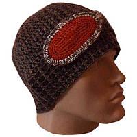 """Мужская вязаная шапка c элементами кожи коричневого цвета, с декоративными """"очками"""""""