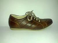 Кожаные польские мужские удобные стильные коричневые спортивные туфли 40р