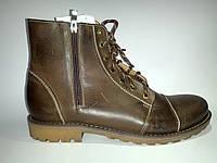 Кожаные польские мужские удобные стильные коричневые зимние ботинки, сапоги Basso