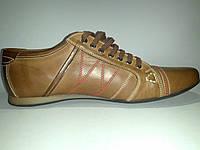 Кожаные польские мужские стильные модные коричневые спортивные туфли 42р Basso