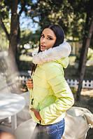 Женская куртка короткая с капюшоном на меху рукав длинный на молнии плащевка на синтепоне