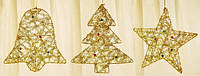 Новогоднее украшение Колокольчик, Звезда, Елка, 20см