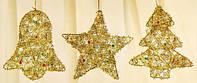 Новогоднее украшение Колокольчик, Звезда, Елка, 15см