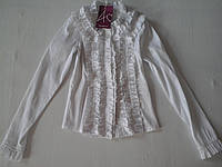Белая блуза для девочки, р.116, 122