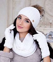 Комплект шапка с пампоном - енот, перчатки и шарф-хомут в 9ти цветах 4194-38