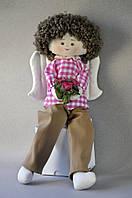 Добрый Ангел Мальчик мягкая игрушка Кукла ручной работы с крыльями в цветочной рубашке с букетом цветов