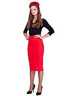 Женская трикотажная юбка-карандаш Красная