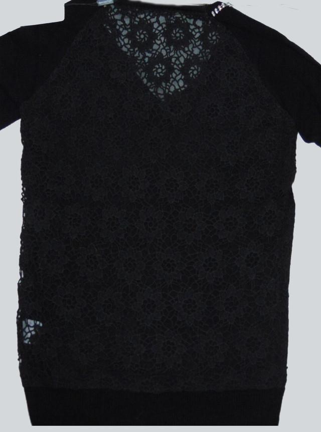 Ажурная спинка женского пуловера черного цвета Лилиана SvLl115