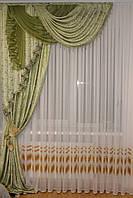 Ламбрекен со шторой и стеклярусом №185