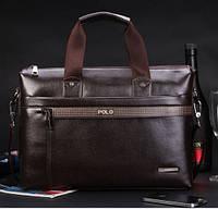 Деловая вместительная мужская кожаная сумка портфель POLO для ноутбука