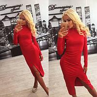 Женское платье французский трикотаж красное
