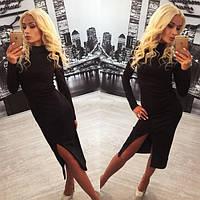 Женское платье французский трикотаж черное