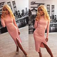 Женское платье французский трикотаж персик