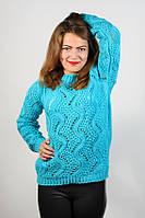 Кофта джемпер пуловер вязаная голубая молодежная размер 44-46 AL6