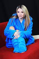 Махровый халат женский голубой , магазин халатов