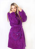 Махровый халат женский фиолетовый , магазин халатов