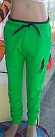 "Спортивные штаны на резинке и манжете ""Polo"" зеленые"