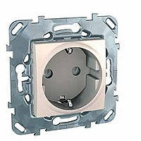 Розетка с заземлением и шторками слоновая кость Schneider Electric - Unica (mgu3.037.25)